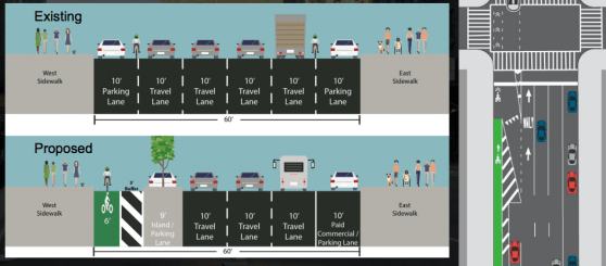 Tomorrow night, CB 7 will vote on whether to endorse DOT's proposal for a protected bike lane on Amsterdam Avenue from 72nd Street to 110th Street. Image: DOT