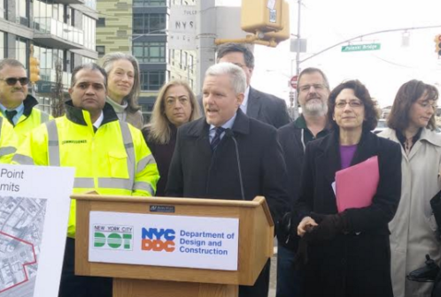 Council Member Jimmy Van Bramer alongside the DDC and DOT Commissioners this morning. Photo: David Meyer