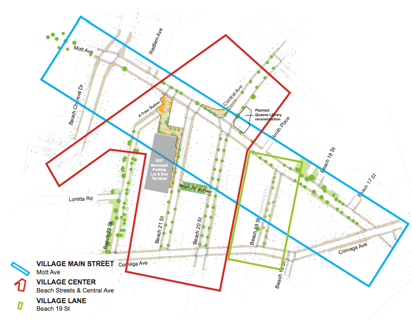 wants to increase plaza space, trees and expanded sidewalks around Mott Avenue. Image: DOT