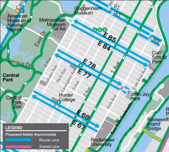 At the request of community advocates, DOT wants to install three new crosstown dedicated bike routes on the Upper East Side. Image: DOT