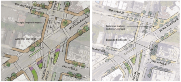 Both designs proposed for the foot of the Pulaski Bridge route cyclists east down 49th Avenue. Image: DDC/DOT/Parsons