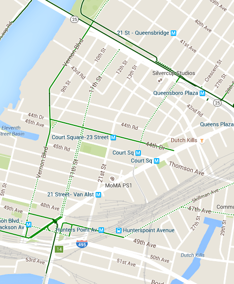 11th Street is the most desirable route for cyclists hoping to get to the Queensboro Bridge. Image: Google Maps