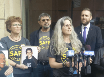 Amy Cohen spoke alongside other members of Families for Safe Streets in support of expanding the city's school speed camera program. Photo: David Meyer