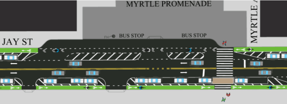 At bus stops such as the extended layover zone in front of the Myrtle Promenade, the protected bike lane will gave way to a shared bus-bike lane. Image: DOT
