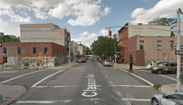 """A driver struck and killed a cyclist at Classon Avenue at Lexington Avenue. Image"""" Google Maps"""