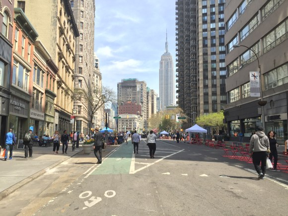 Broadway between 17th and 23rd Streets was closed to traffic for four hours today. Photo: David Meyer