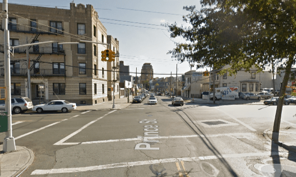Prince Street and 35th Avenue in Flushing, where a pedestrian was struck and killed by a driver who police say failed to yield. Image: Google Maps