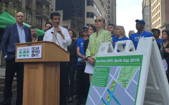 City Council Transportation Chair Ydanis Rodriguez speaks about Car Free Earth Day at a press conference this morning. Photo: David Meyer