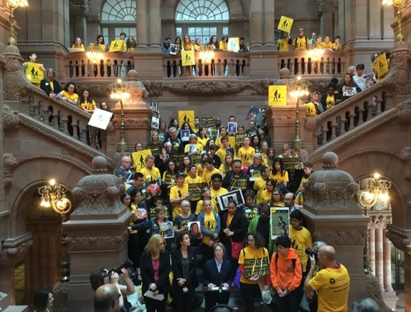 """""""Not one more."""" Street safety advocates and students join Assembly Member Deborah Glick in calling on Albany to allow speed cameras at every school in NYC. Photo: Brad Aaron"""