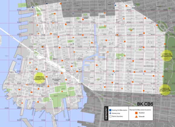 """Brooklyn CB 6 and other parts of the city where Citi Bike expansions have fallen short on standards for station density are in line for new """"infill"""" stations. Image: DOT"""