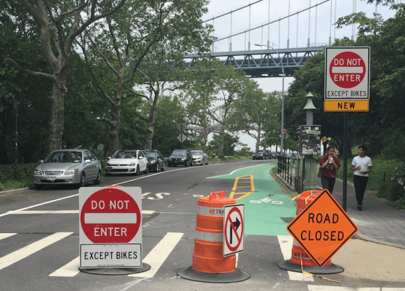 Signs tell northbound drivers: Shore Boulevard is one-way now. Photo: David Meyer