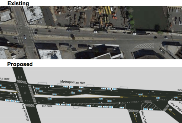 The bike lanes will continue until the intersection with Onderdonk Avenue, where the road narrows significantly. Image: DOT