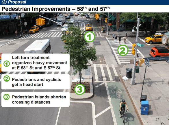DOT's proposed treatment for Second Avenue at E. 58th and E. 59th streets. Image: DOT