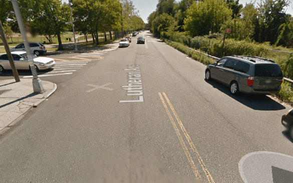 Lutheran Avenue, where a driver backing up to park injured a cyclist today. Image: Google Maps