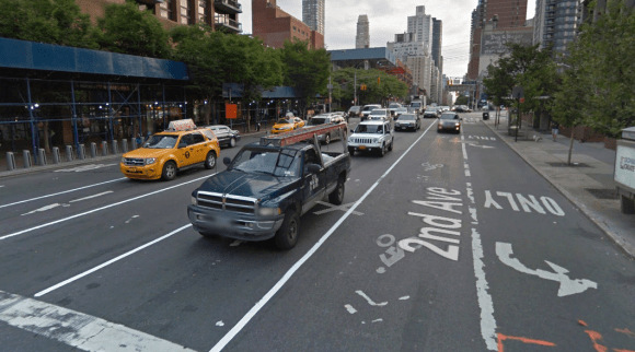 Second Avenue, pictured here between 58th and 59th Streets, is getting more protected bike lanes. Photo: Google Maps