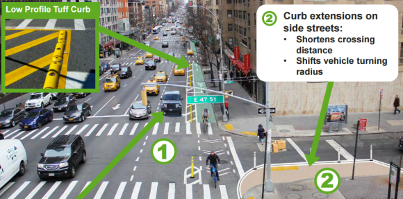 Between 52nd Street and 43rd Street he new bike lane will only be protected during off-peak hours. Image: DOT