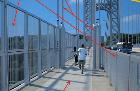 The Port Authority will add nine-foot tall suicide fences, but no additional capacity, to the George Washington Bridge's bike and pedestrian paths. Image: PANYNJ