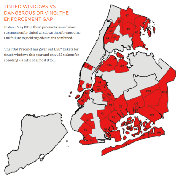 NYPD precincts that issued more tickets for tinted windows than for speeding and failure to yield combined from January through May 2016. Image: TA