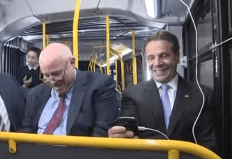 You're phone will have plenty of time to get to full battery on NYC's slowest buses in the nation. Photo: YouTube/NY Governor's Office