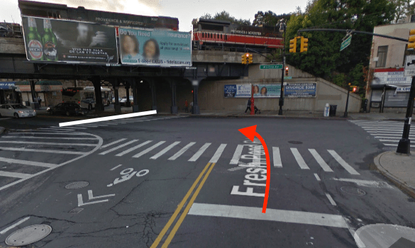A driver turning left fatally struck Mary Alice D'Amico as she crossed Myrtle Avenue at Fresh Pond Road. The white line represents D'Amico's path through the intersection — it is unknown which direction she was walking — and the red arrow indicates the path of the driver. Image: Google Maps