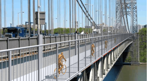 Weissman's proposal would put 10-foot bike lanes to the side of the existing paths. Image: Neile Weissman