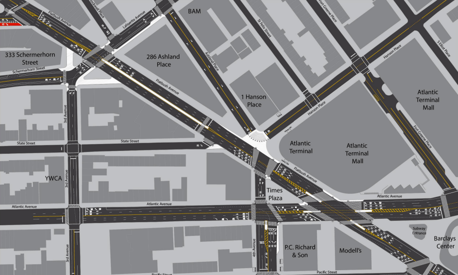 DOT is proposing to expand pedestrian space and simplify vehicular movements around Flatbush Avenue between Atlantic and Lafayette. Image: DOT