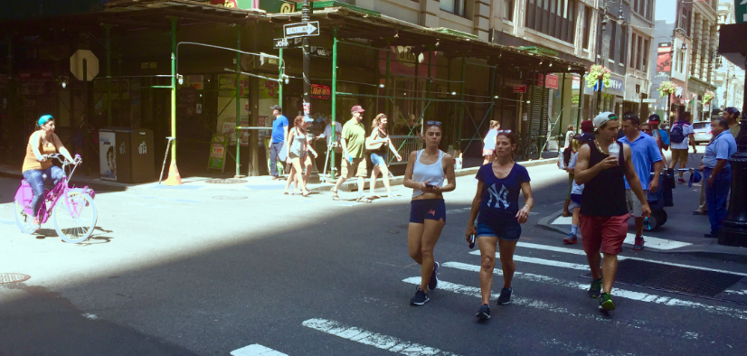 With car traffic in the neighborhood limited, pedestrian and cyclists has most of the Financial District to themselves on Saturday. Photo: David Meyer