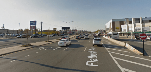 Angel and Samantha Sagardia were struck by a commuter van while attempting to cross the wide expanse of Flatbush Avenue outside Kings Plaza Mall. Photo: Google Maps