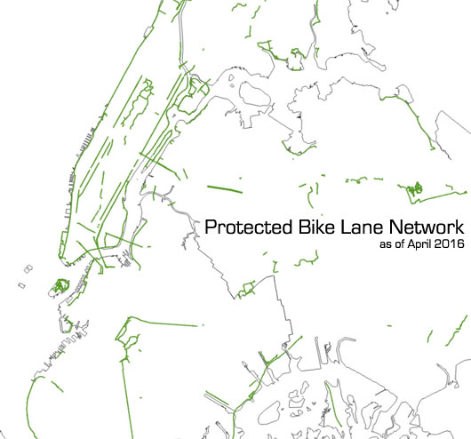 DOT will add 18 more miles of protected lanes to this map in 2016, but there's a lot of work left to do to create a cohesive citywide network of safe bike routes. Map: Jon Orcutt