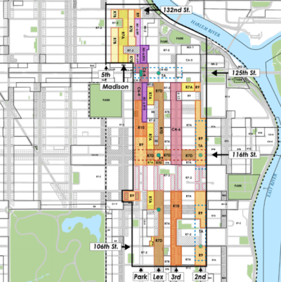 The Department of City Planning previewed its East Harlem rezoning proposal at Community Board 11 this week [PDF].