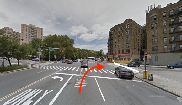 A school bus driver struck and killed Carmen Puello in a crosswalk in University Heights. The white line indicates the path of the victim — it's unknown which direction she was walking — and the red arrow indicates the approximate path of the driver, according to NYPD. Police filed no charges. Image: Google Maps