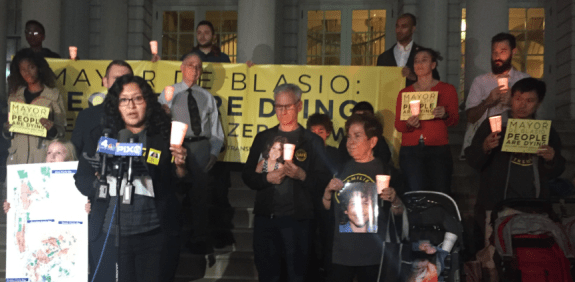 Families for Safe Streets' Sufio Russo speaking outside City Hall last night. Photo: David Meyer