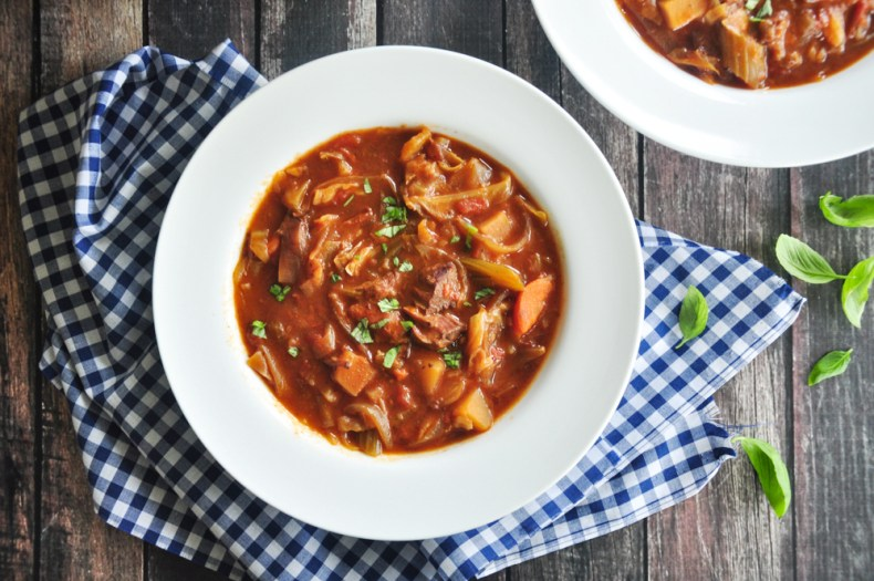 A hearty borscht recipe made with beef stew meat and onion sautéed in a roux and slow cooked in homemade beef bone broth, this Shanghai-style beef borscht makes a delicious comfort meal on a chilly day.