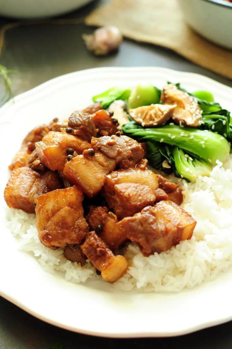 Authentic Filipino Pork Adobo with Veggies and Rice