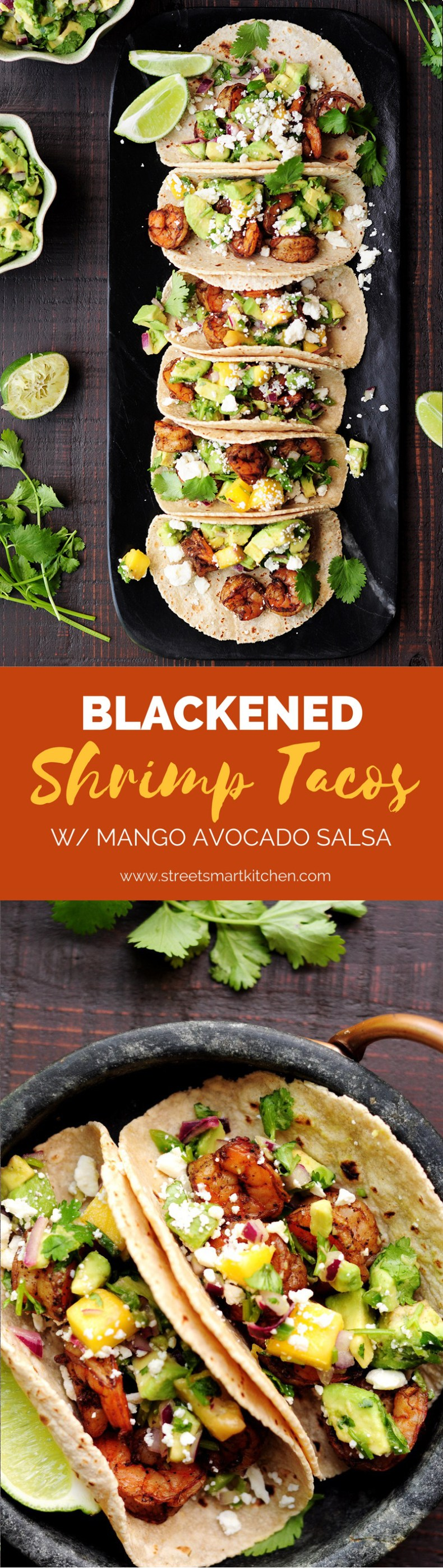 Shrimp tacos made with a homemade blackened seasoning mix, topped with refreshing mango avocado salsa and feta cheese. Yum!
