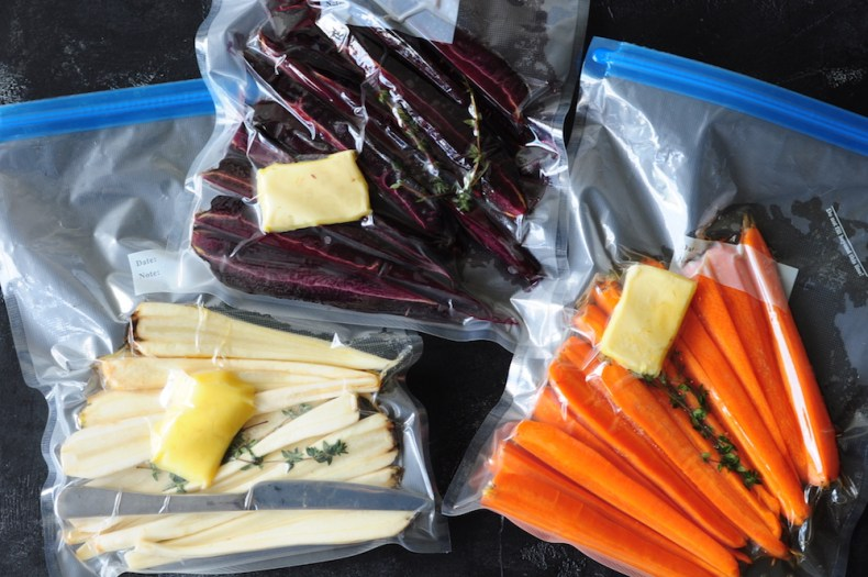 Suos vide carrots prep - how to bag the carrots for sous vide