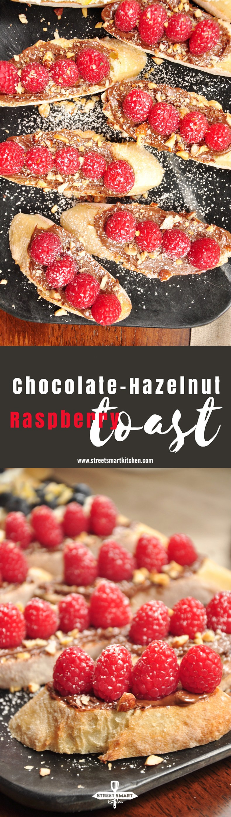 Recently, I've got a new discovery - chocolate and raspberries are best friends! Want prove? This Chocolate-Hazelnut & Raspberry Toast is it! If you like Nutella, you are going to love this recipe. It only calls for five ingredients. Let's count - a good loaf of French bread, Nutella, fresh raspberries, chopped nuts of your choice and powdered sugar for decorating and sweetening things up. That's all.