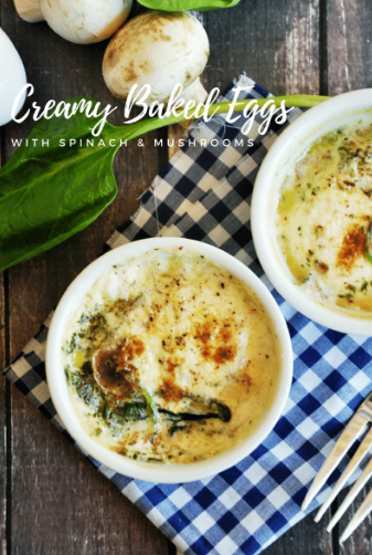 These creamy gluten-free baked eggs make a quick and easy breakfast that's delicious and healthy! If you'd like to add some more protein, it's very easy to incorporate meat into the individual ramekin. Just add chopped turkey or ham at the bottom of the ramekin and follow the recipe to finish cooking. Both vegetarians and non-vegetarians in your family will be able to enjoy their own baked eggs without much extra effort to you. Enjoy!
