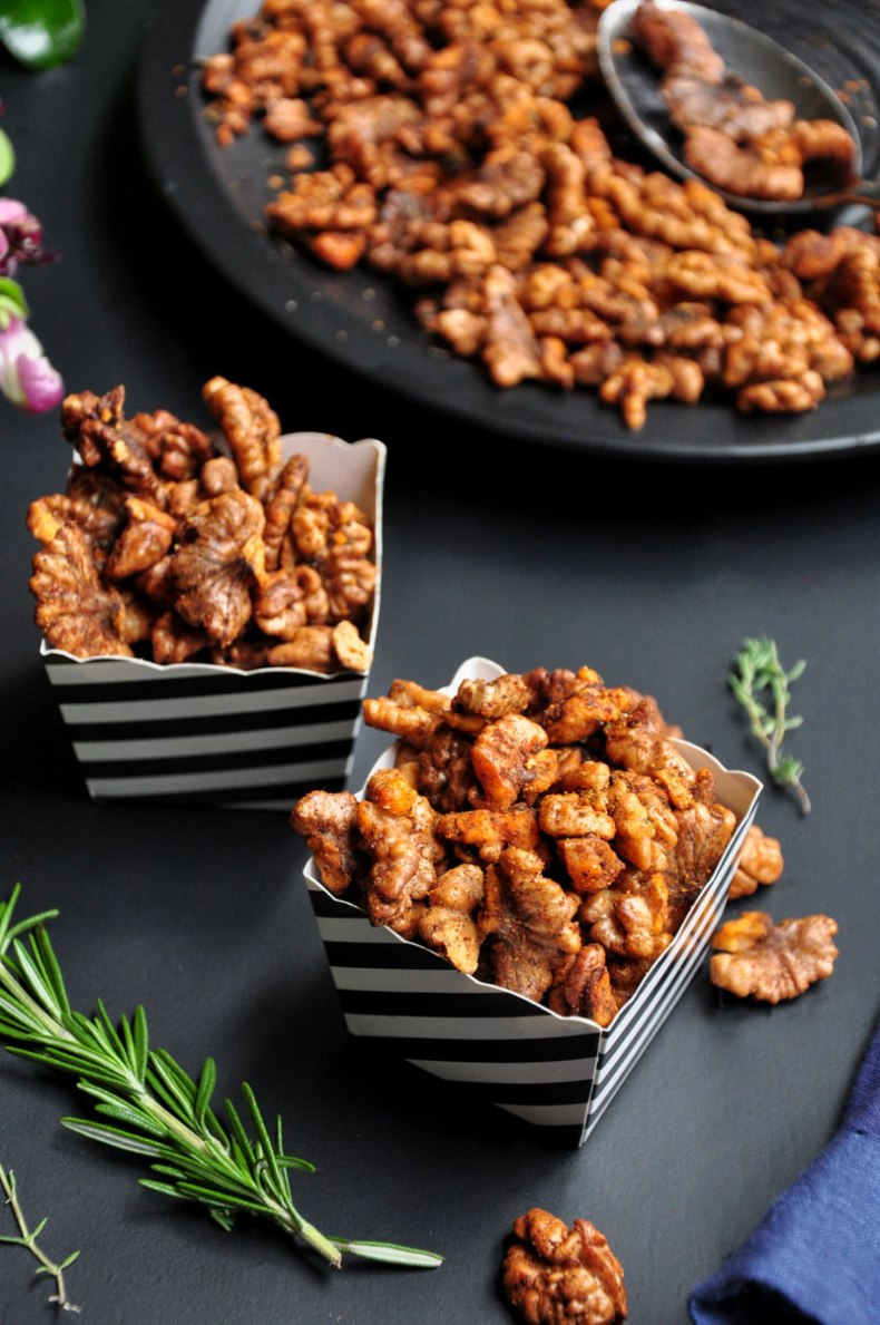 These spiced roasted walnuts make the perfect salad topper or healthy snack. Easy, versatile, and done in 20 minutes. They are gluten-free and 100% vegan.