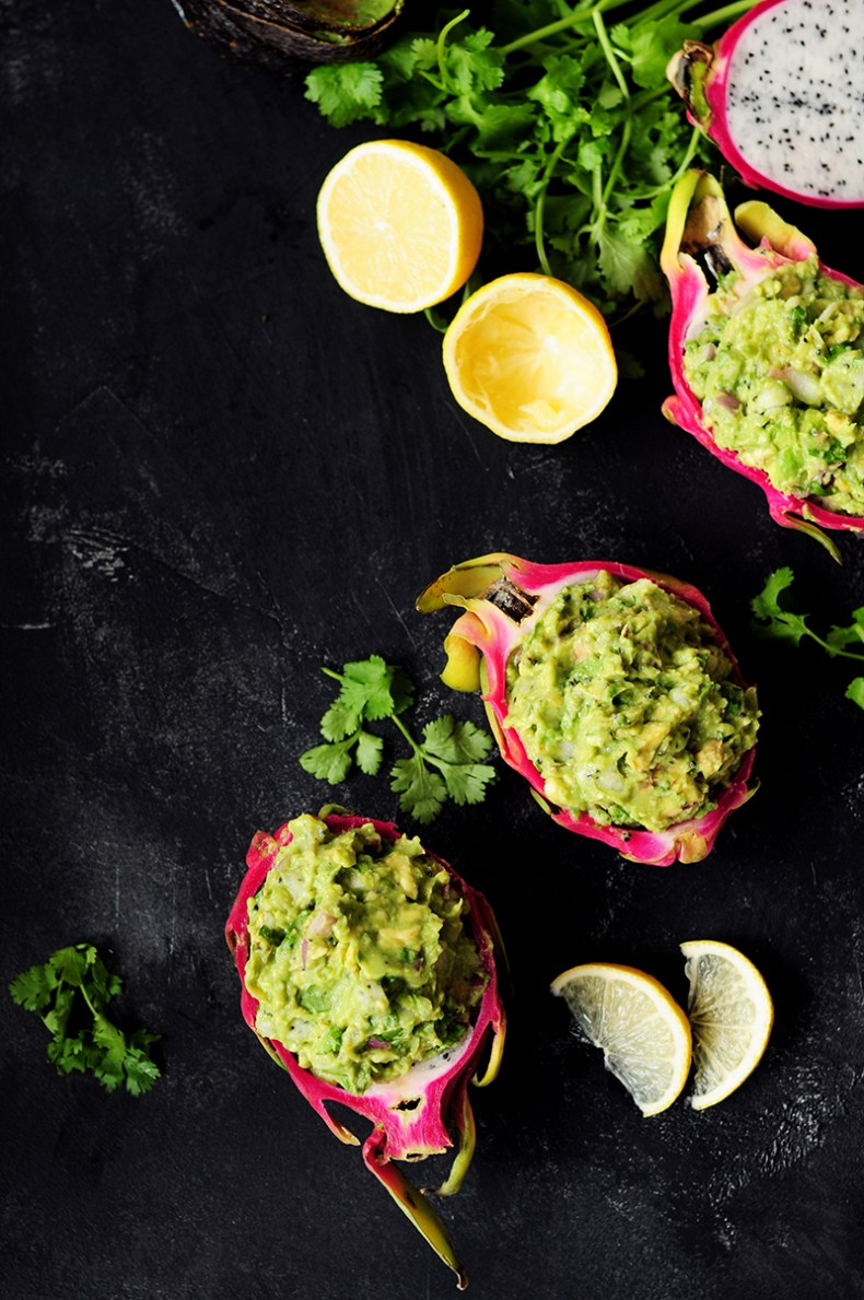 Surprise and delight your taste buds by combining dragon fruit with creamy avocado for a refreshing guacamole served individually in a dragon fruit shell.