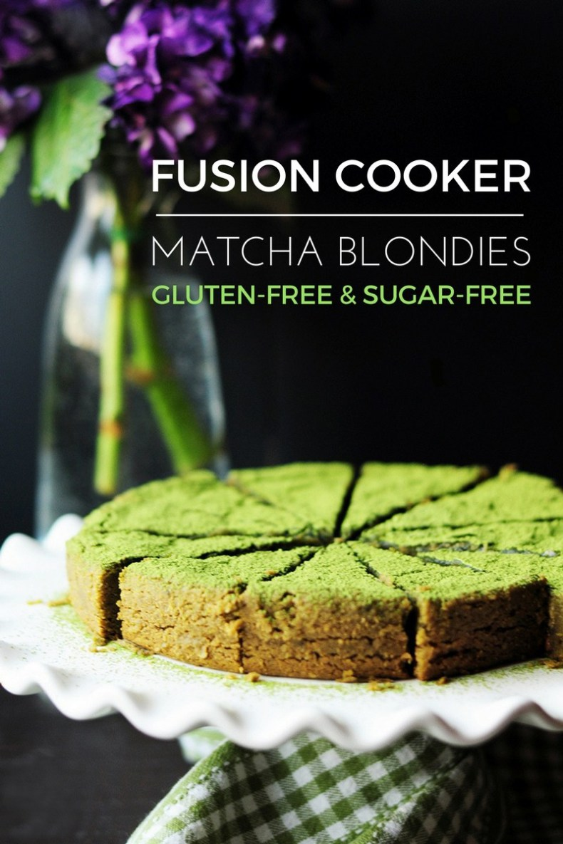 Healthy matcha blondie recipe made gluten-free and sugar-free in a Fusion Cooker from start to finish. No extra mixing bowls needed.
