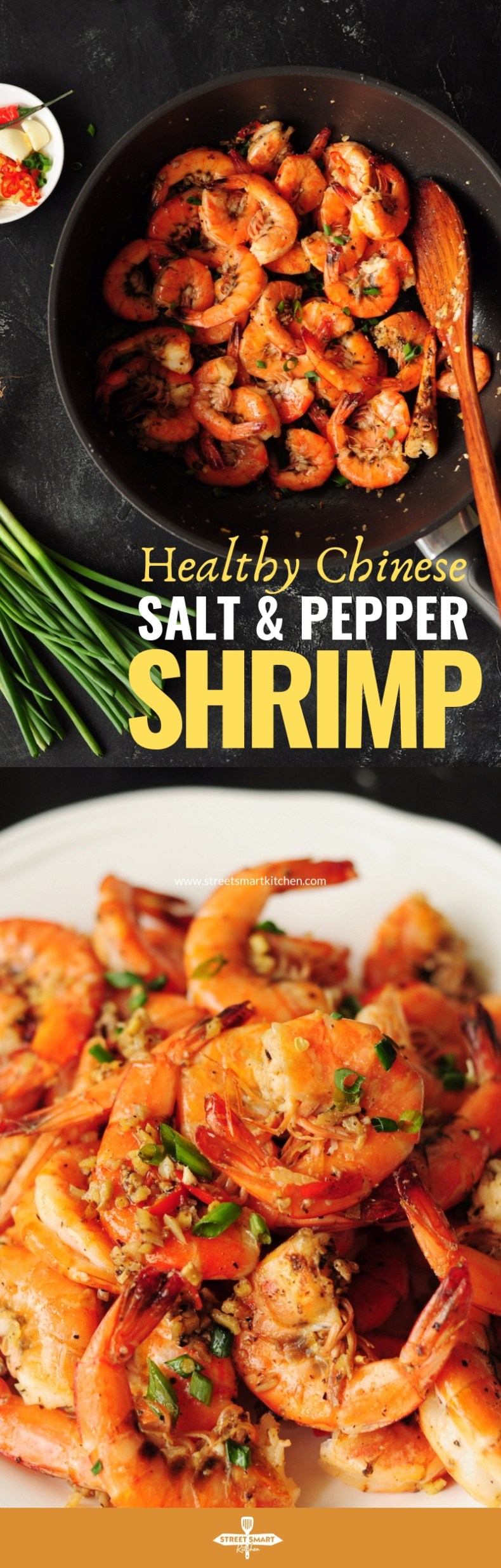 Classic Chinese salt and pepper shrimp with a healthy twist without losing any authentic taste. It's gluten-free and only requires 15 minutes. So quick and yum!