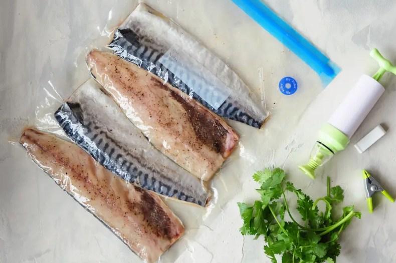 Mackerel Fillets in a Sous Vide Bag