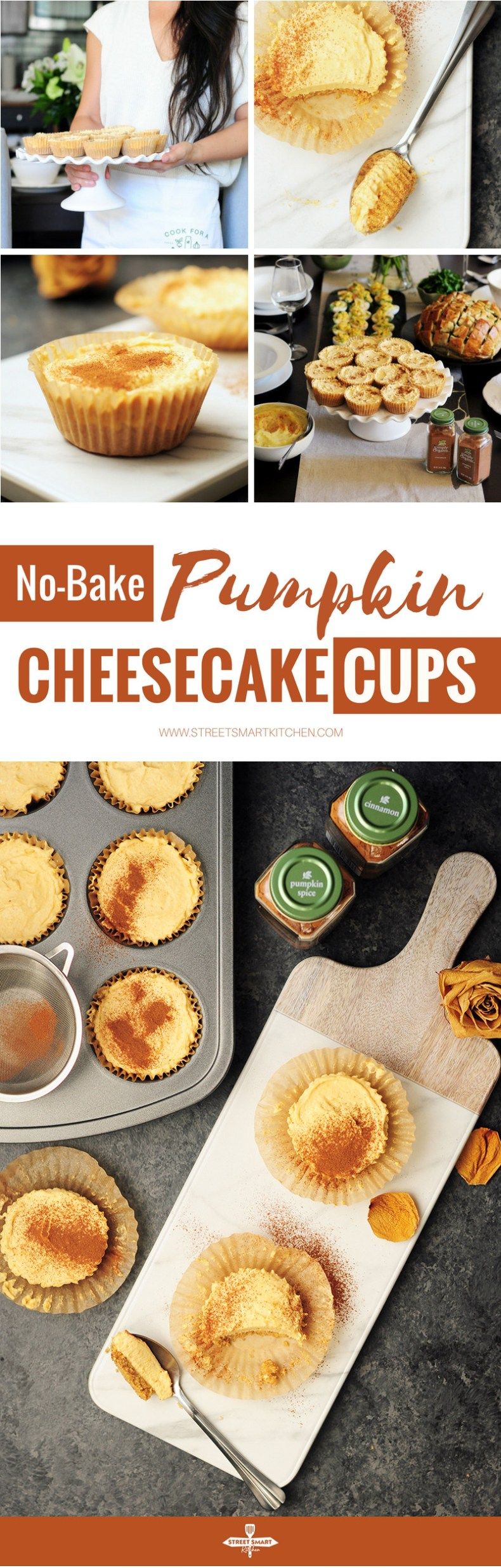 No-Bake pumpkin cheesecake in individual cups! They are great to please a crowd and you can prepare them beforehand to chill in the fridge.