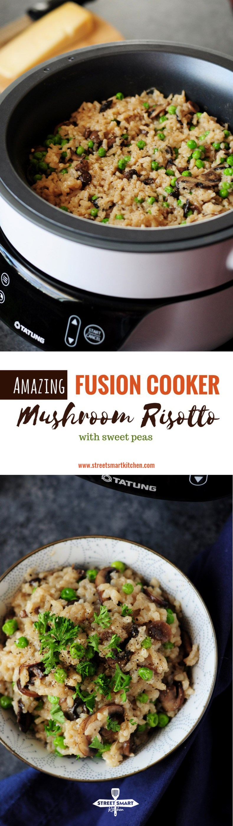 Fusion Cooker Mushroom Risotto with Sweet Peas (Stovetop & Slow Cooker Methods Included)