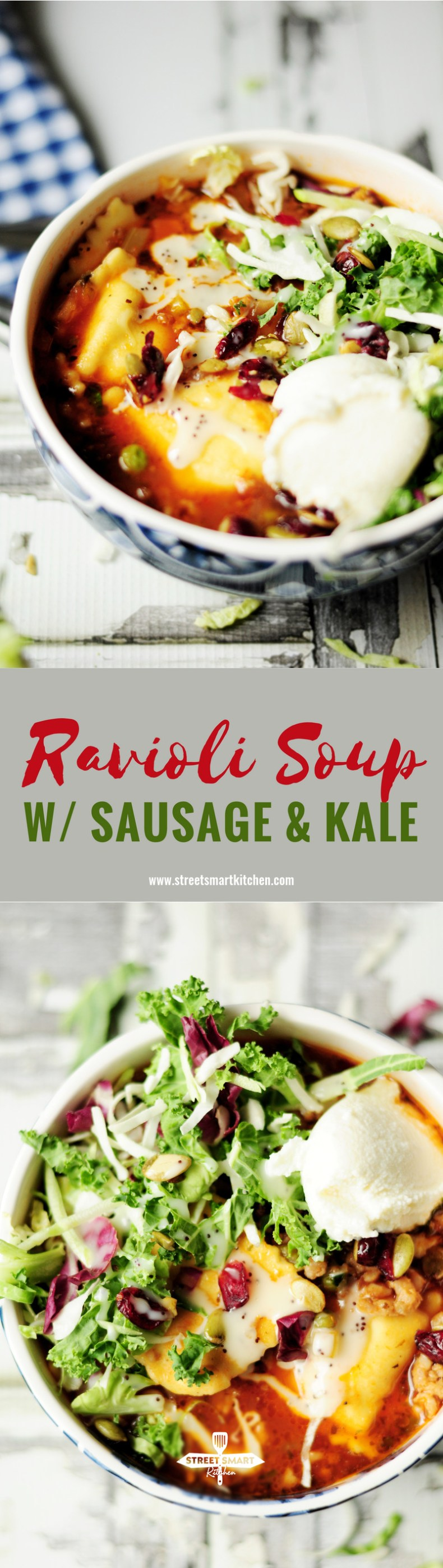 This ravioli soup is a hearty, yet balanced winter meal that offers an amazing sauce over cheese ravioli with a pop of kale greens to boost the healthiness!