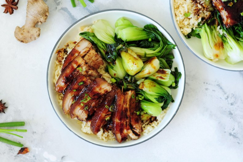Red-Braised Sous Vide Pork Belly with Sauteed Bok Choy