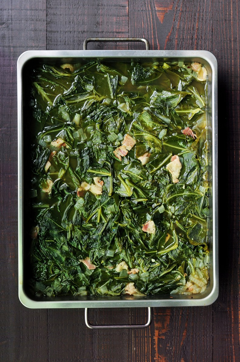 Easy and nutritious southern collard greens with bacon and bone broth slow cooked in the oven or on the stove.