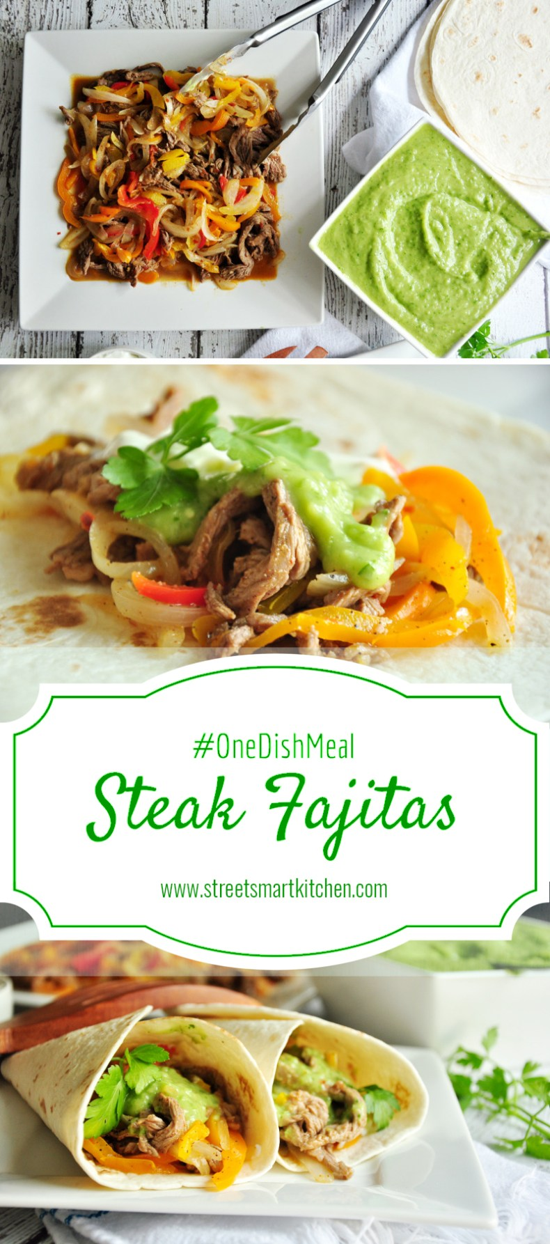 Super yummy steak fajitas ready in just 20 minutes. Top the filling with our all-time favorite salsa verde to complete an amazing one dish meal!