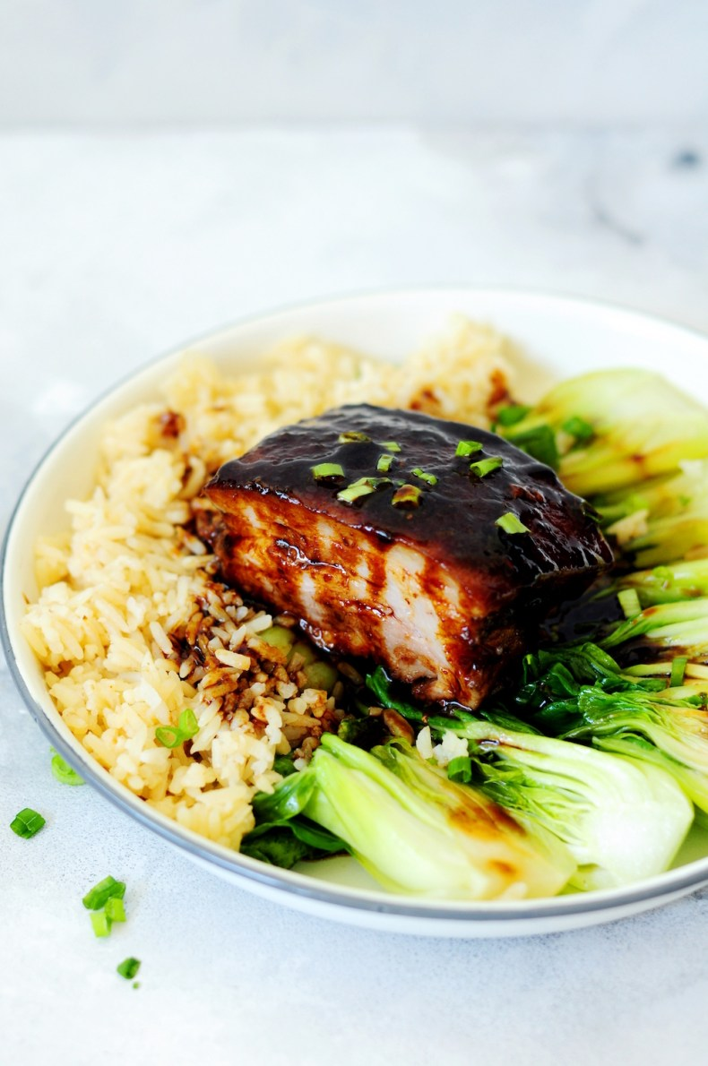 Red-Braised Sous Vide Pork Belly with Sauteed Bok Choy, a traditional classic Chinese recipe turned revolutionarily simple with the original melt-in-your-mouth texture and the authentic flavors!